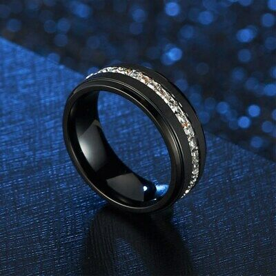 8MM Blue/White Cz Bands Men's Titanium Steel Silver/Black Brushed Ring Size 7-11 9