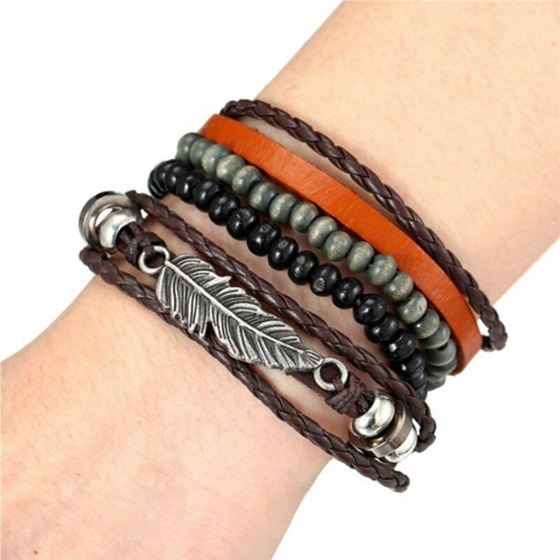 4Pcs Punk Multilayer Leather Bracelet Men's  Women Wristband Bangle Jewelry Set 11