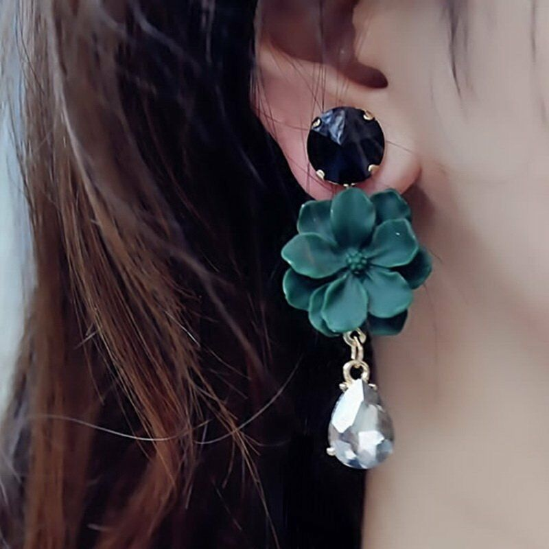 Fashion Boho Painting Big Flowers Ear Stud Earrings Women Charm Jewelry Gifts 7