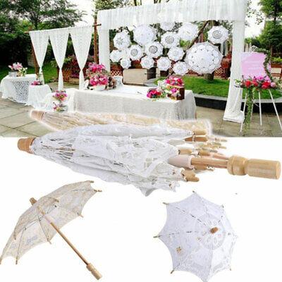 Vintage Lady Handmade Cotton Lace Parasol Umbrella Wedding Bridal Party Decor 3