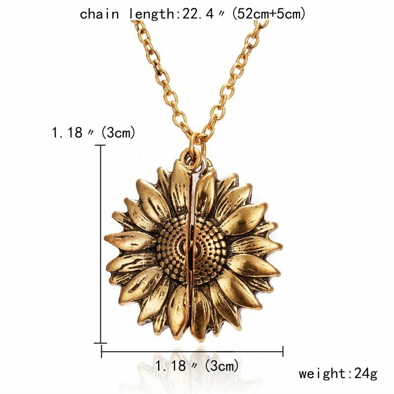 You are my sunshine Sunflower Open Locket Pendant Chain Necklace Christmas Gift 9