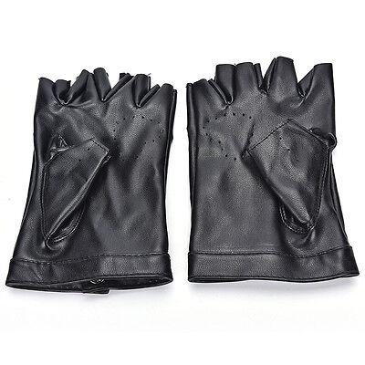 Women Punk Leather Driving Biker Fingerless Mittens Dance Motorcycle Gloves V_MR 10