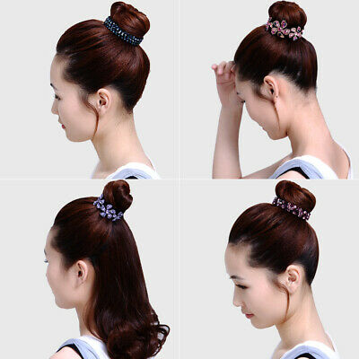Women's Crystal Rhinestone Flower Hair Clips Claw Clamp Bun Net Hair Accessories 2