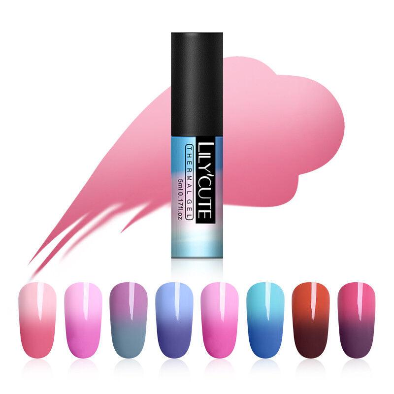 5ml LILYCUTE Nail Art Vernis à Ongles Semi Permanent Gel UV Thermal Gel Polish 7