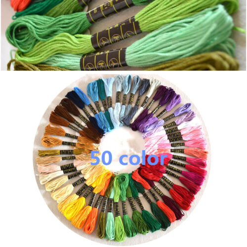 50Colors Cross Stitch Cotton Embroidery Thread Floss