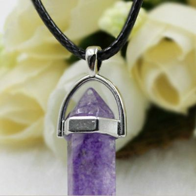 Gemstone Pendant Necklace Natural Quartz Crystal Point Chakra Healing Stone Gift 7