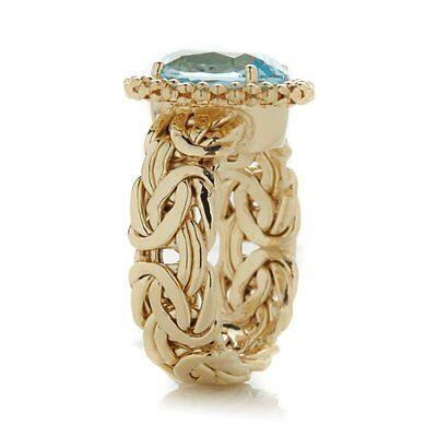 Technibond Gemstone Byzantine Band Ring 14K Yellow Gold Clad Silver 925