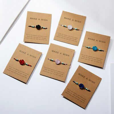 Handmade Natural Stone Rope Bracelet Bangle Friendship Couple Card Jewelry Gifts 3