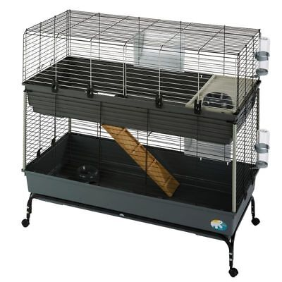 2-Tier Pet Cage Small Animal Rabbit Playpen Crate Pen Indoor Tray Rolling Metal