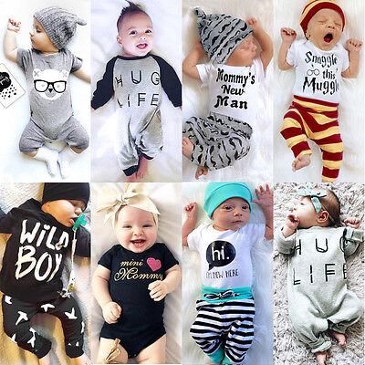 Newborn Baby Boys Girls Top T Shirt Romper Pants Bodysuit Outfit Set Clothes