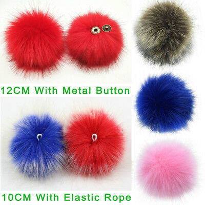 2e417b5dd49 1 of 12FREE Shipping Faux Fox Fur Pom Pom for Hat with Press Button Fake Fur  Hat Bubble Removable uk