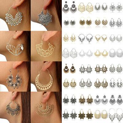 Boho Women Jewelry Holiday Gypsy Tribal Ethnic Mandala Hollow Hoop Earrings Gift 2