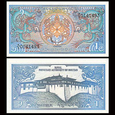 Lot 5 PCS, Bhutan 1 Ngultrum, 1986, P-12, UNC