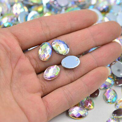 25mm Sewing Rectangular Clear AB Flatback Rhinestones SewOn Crystals 10Pcs 18