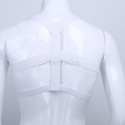 Sexy Männer Herren Nylon Body Dessous Unterwäsche Brust Harness Riemenbody Weiß 4