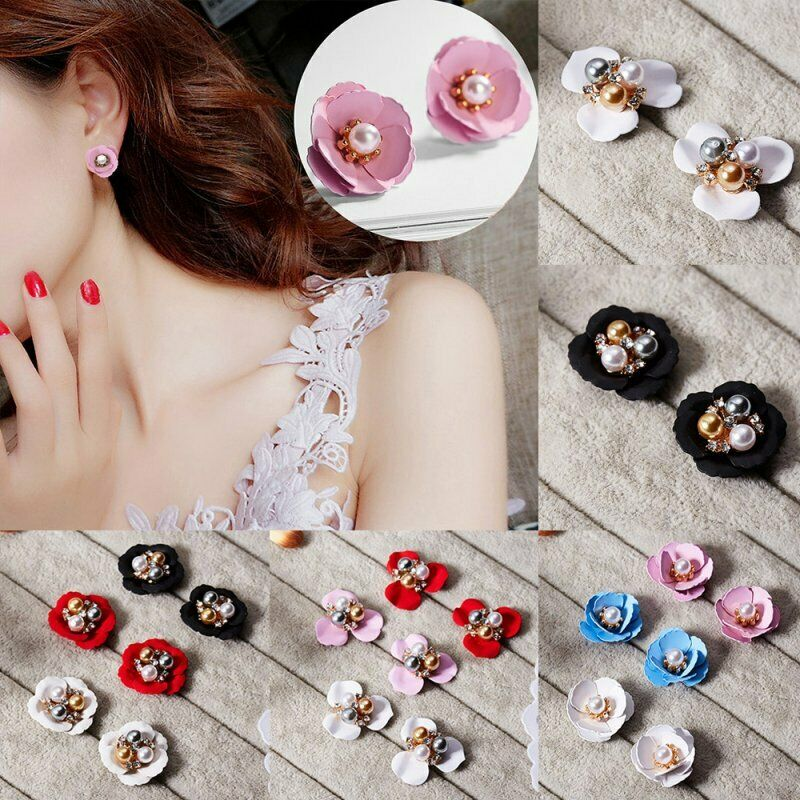 Fashion Boho Painting Big Flowers Ear Stud Earrings Women Charm Jewelry Gifts 5