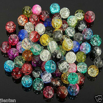 Wholesale New Glass Mixed Crackle Crystal Charms Beads Jewelry DIY 4/6/8/10/12mm 2