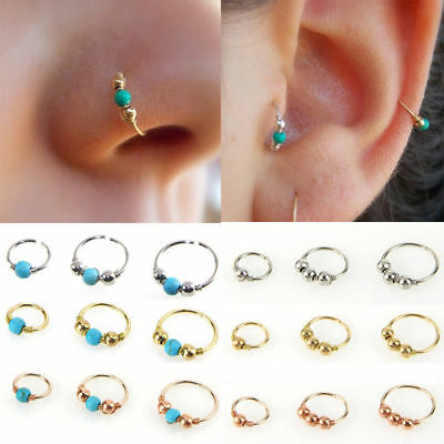 Unisex High Quality Thin Nose Ring Hoop Fake Body Piercing Jewellery Silver 3