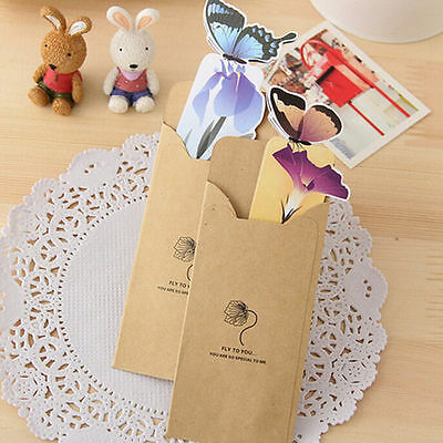 4pc Cute Butterfly On Flower Exquisite Paper Bookmarks Book Markers Readers Gift 8