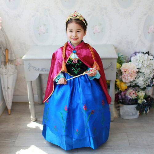 Kinder Mädchen Eiskönigin Frozen Elsa Anna Tüll Kleid Kostüm Cosplay Party Dress