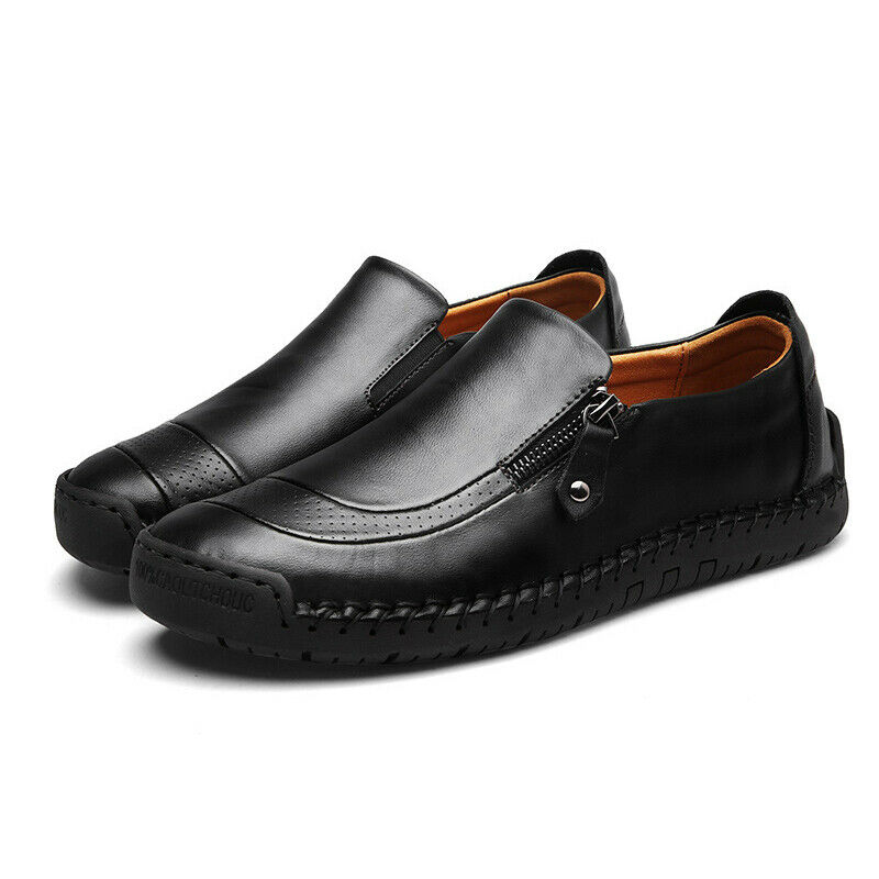 Men Zip Up Loafers Oxfords Moccasins Smart Office Work Slip On Casual Shoes Size 3