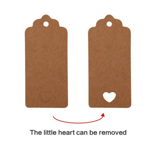 100pcs Blank Kraft Paper Hang Tags Wedding Party Favor Label Price Gift Card SS 8