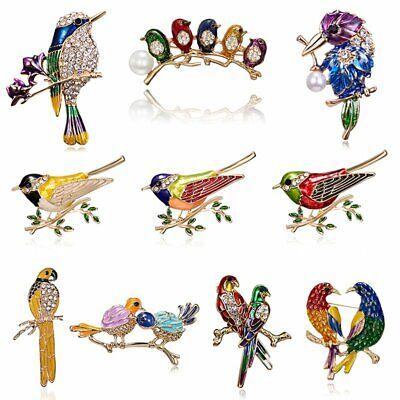 Fashion Brooch Pin Animal Bird Crystal Pearl Enamel Women Wedding Jewelry Gift 3