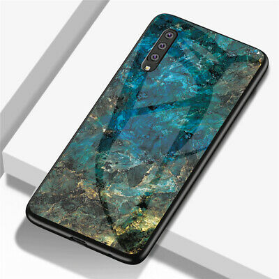 For Samsung Galaxy A70 A50 A20E A10 Marble Tempered Glass Hybrid Hard Case Cover 12