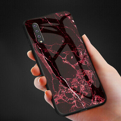 For Samsung Galaxy A70 A50 A20E A10 Marble Tempered Glass Hybrid Hard Case Cover 4