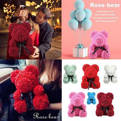 23/25cm Rose Flower Teddy Bear Foam Valentine Wedding Xmas Gift+ Free Gift Box 2