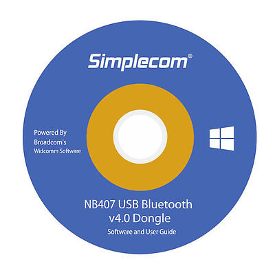 Simplecom USB Bluetooth 4.0 Widcomm Adapter Wireless Dongle with A2DP EDR 5