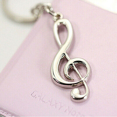 Creative Stainless Steel Silver Music Symbol Keychain Ring Keyring Key Fob Gift 7