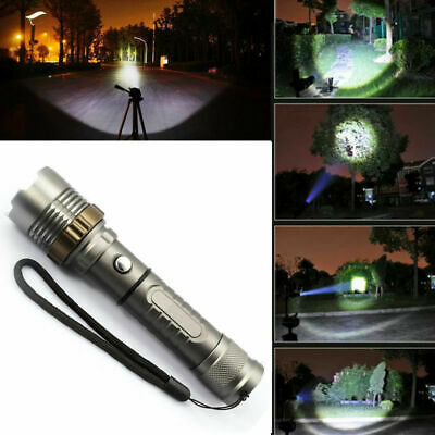 Rechargeable 200000LM Camping LED Flashlight T6 Tactical Police Torch+Batt+Char 6