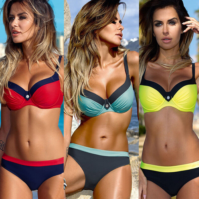 Women Push-up Padded Bandage Bikini Set Swimsuit Triangle Swimwear Bathing Suit