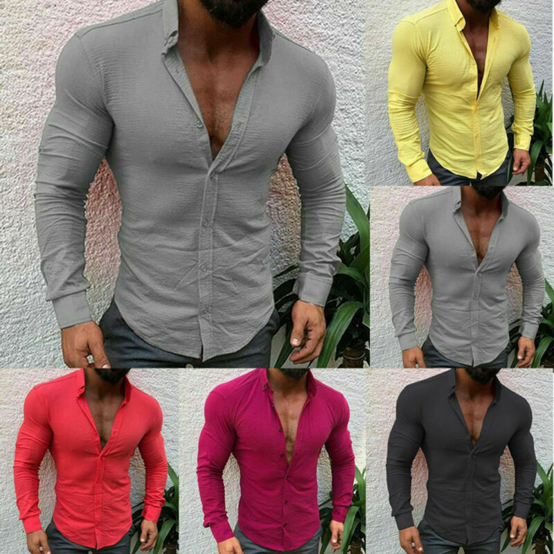 Mens Slim Fit Formal Dress Shirts Long Sleeve Stylish Muscle Tops Blouse T-shirt 7