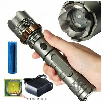 Rechargeable 200000LM Camping LED Flashlight T6 Tactical Police Torch+Batt+Char 2