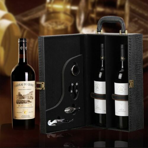 Wine Bottle Box Luxury Leather Bag 2 Red Wine Champagne Tote Carrier Travel Case 2