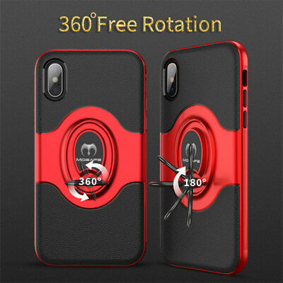 For iPhone XS Max XR XS X Ring Magnetic Shockproof Hybrid TPU Bumper Case Cover 7
