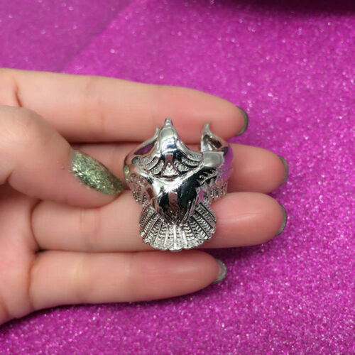 Women Ring Silver Color Long Angel Eagle Bird Wing Adjustable Band Jewelry RU 2