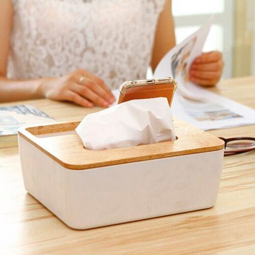 Tissue Box Dispenser Wooden Cover Paper Storage Holder Napkin Case Organizer
