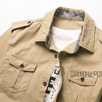 Men's Casual Short Sleeve Cargo T-shirts Military Dress Shirt Double Pockets New 4
