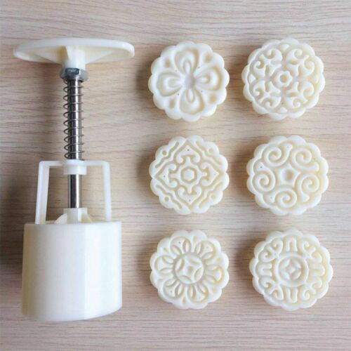 6 Flowers STAMPS Round Pastry Moon Cake Mold 50g Mould Cookies Mooncake Decor 3