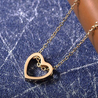 Women Heart Charm Necklace Pendant Choker Chain Gold Silver Black Jewelry Gift 6