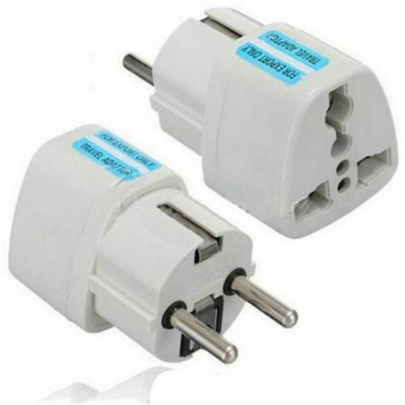 Portable UK US AU to EU European Power Socket Plug Adapter Travel Converter 2