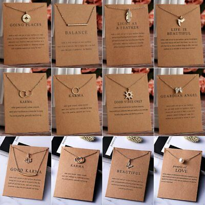 Fashion Women Animal Heart Necklace Charms Pendant Clavicle Chain Jewelry Card 11