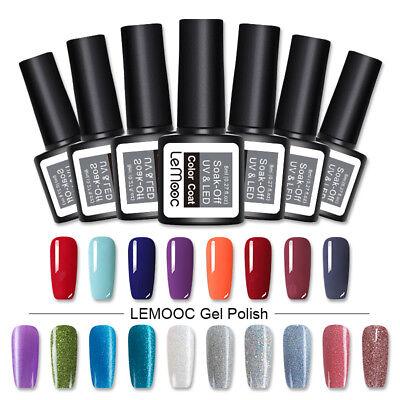 LEMOOC 8ml UV Gel Polish Nail Soak off Pure Tips Glitter Sequins Gel Varnish 6