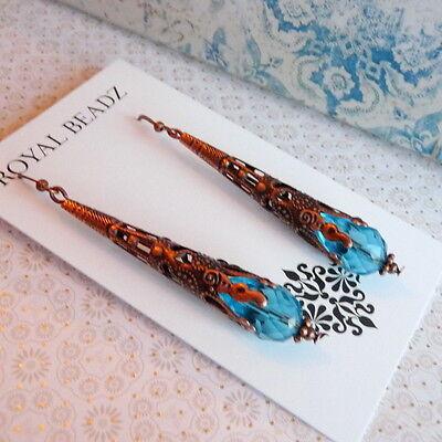 Art Nouveau Victorian Style Cone Aqua Blue Crystal Copper Long Earrings 5