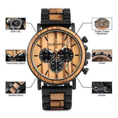Luxury Design BOBO BIRD Japan Quartz Wrist Watch Men Women 44mm Gift Box Wood 12