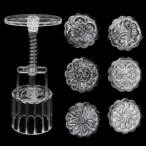 6 Flower Stamps Moon Cake Mould 50g Transparent Round Mooncake Mold Baking Decor 4