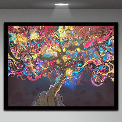 Psychedelic Trippy Tree Abstract Art Silk Fabric Cloth Poster Home Wall Decor 6